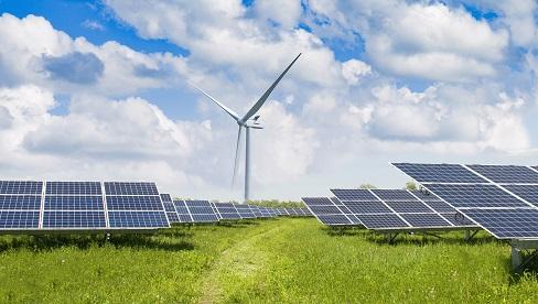 Panele solarne i turbina wiatrowa